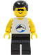 Minifig No: div024  Name: Divers - Blue Oval and Black Dolphin with Black Hair