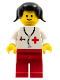 Minifig No: doc001  Name: Doctor - Stethoscope, Red Legs, Black Pigtails Hair