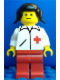 Minifig No: doc006  Name: Doctor - Straight Line, Red Legs, Black Pigtails Hair