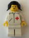 Minifig No: doc008  Name: Doctor - Straight Line, White Legs, Black Pigtails Hair