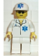 Minifig No: doc010  Name: Doctor - EMT Star of Life, White Legs, White Cap