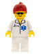 Minifig No: doc015  Name: Doctor - EMT Star of Life, White Legs, Red Ponytail Hair