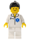 Minifig No: doc019  Name: Doctor - EMT Star of Life, White Legs, Black Ponytail Hair