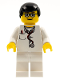 Minifig No: doc024  Name: Doctor - Lab Coat Stethoscope and Thermometer, White Legs, Black Male Hair, Glasses