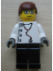 Minifig No: doc028  Name: Doctor - Stethoscope with 4 Side Buttons, Black Legs, Glasses, Reddish Brown Male Hair