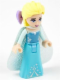 Minifig No: dp015  Name: Elsa - Sparkly Light Aqua Cape, Lavender Hair Bow