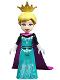 Minifig No: dp134  Name: Elsa, Coronation Elsa - Dark Turquoise Dress, Black Sleeves and Magenta Cape