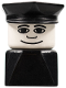 Minifig No: dupfig002  Name: Duplo 2 x 2 x 2 Figure Brick Early, Male on Black Base, Black Police Hat, Wide Smile