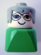 Minifig No: dupfig006  Name: Duplo 2 x 2 x 2 Figure Brick Early, Female on Green Base, Gray Hair, Glasses (Grandmother)