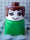 Minifig No: dupfig007  Name: Duplo 2 x 2 x 2 Figure Brick Early, Female on Green Base, Brown Hair, Eyelashes