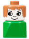 Minifig No: dupfig008  Name: Duplo 2 x 2 x 2 Figure Brick Early, Female on Green Base, Fabuland Brown Hair, Eyelashes, Nose