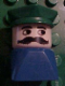 Minifig No: dupfig012  Name: Duplo 2 x 2 x 2 Figure Brick Early, Male on Blue Base, Green Police Hat