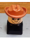 Minifig No: dupfig014r  Name: Duplo 2 x 2 x 2 Figure Brick Early, Male on Black Base, Fabuland Brown Western Hat, looks Right