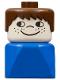 Minifig No: dupfig015  Name: Duplo 2 x 2 x 2 Figure Brick Early, Male on Blue Base, Brown Hair, Cheek Freckles
