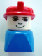 Minifig No: dupfig016  Name: Duplo 2 x 2 x 2 Figure Brick Early, Male on Blue Base, Red Hat (Firefighter)