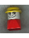 Minifig No: dupfig023  Name: Duplo 2 x 2 x 2 Figure Brick Early, Male on Red Base, Yellow Derby Hat