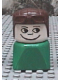 Minifig No: dupfig025  Name: Duplo 2 x 2 x 2 Figure Brick Early, Male on Green Base, Brown Aviator Hat