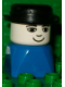 Minifig No: dupfig027  Name: Duplo 2 x 2 x 2 Figure Brick Early, Male on Blue Base, Bowler Hat