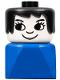Minifig No: dupfig031  Name: Duplo 2 x 2 x 2 Figure Brick Early, Female on Blue Base, Black Hair, Eyelashes, Nose