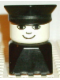 Minifig No: dupfig035  Name: Duplo 2 x 2 x 2 Figure Brick Early, Male on Black Base, Black Police Hat, Small Smile