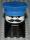 Minifig No: dupfig036  Name: Duplo 2 x 2 x 2 Figure Brick Early, Male on Black Base, Blue Police Hat, Moustache