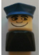 Minifig No: dupfig037  Name: Duplo 2 x 2 x 2 Figure Brick Early, Male on Black Base, Blue Police Hat