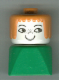 Minifig No: dupfig040  Name: Duplo 2 x 2 x 2 Figure Brick Early, Female on Green Base, Earth Orange Hair, Nose Freckles