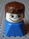 Minifig No: dupfig041  Name: Duplo 2 x 2 x 2 Figure Brick Early, Male on Blue Base, Brown Aviator Hat, Freckles