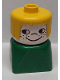 Minifig No: dupfig043  Name: Duplo 2 x 2 x 2 Figure Brick Early, Female on Green Base, Yellow Hair, Nose, Freckles on Cheeks
