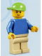 Minifig No: edu003  Name: Plain Blue Torso, Tan Legs, Lime Short Bill Cap