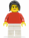 Minifig No: edu004  Name: Plain Red Torso, White Legs, Black Hair Ponytail Long with Side Bangs