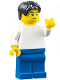 Minifig No: edu005  Name: Plain White Torso, Blue Legs, Black Tousled Hair, Black Eyebrows