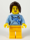 Minifig No: edu008  Name: Female with Long Dark Brown Hair, Bright Light Blue Hoodie, and Bright Light Orange Legs