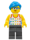 Minifig No: edu009  Name: Female, Tank Top with Colored Stars, Dark Bluish Gray Legs, Dark Azure Hair