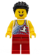 Minifig No: edu010  Name: Male, Tank Top with Surfer, Red Legs, Black Hair