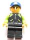 Minifig No: edu011  Name: Female, Dark Blue Cap, Dark Orange Hair, Black Jacket with Zipper and Lime Pockets, Black Legs