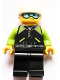 Minifig No: edu012  Name: Male, White Helmet and Goggles, Black Jacket with Zipper and Lime Pockets, Black Legs