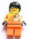 Minifig No: edu013  Name: Female, Black Hair, Goggles, Orange and Bright Light Orange Jacket with 'VITA RUSH', Orange Legs