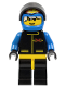Minifig No: ext001a  Name: Extreme Team - Blue, Blue Flame Helmet, White Bangs Messy Hair