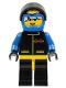 Minifig No: ext001a  Name: Extreme Team - Blue, Blue Flame Helmet, White Bangs Messy Hair