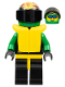 Minifig No: ext005  Name: Extreme Team - Green, Black Legs with Yellow Hips, Green Flame Helmet, Life Jacket