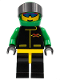 Minifig No: ext006  Name: Extreme Team - Green, Black Legs with Yellow Hips, Green Helmet Plain
