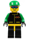 Minifig No: ext007  Name: Extreme Team - Green, Black Legs with Yellow Hips, Green Cap