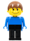 Minifig No: fab13a  Name: Basic Figure Human Boy Blue, Black Legs, Brown Hair