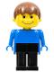 Minifig No: fab13a  Name: Basic Figure Human Boy Blue, Black Legs, Brown Hair