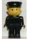 Minifig No: fab13b  Name: Basic Figure Human, Black Legs, Black Hat