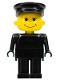 Minifig No: fab13b  Name: Basic Figure Human, Black Legs, Black Hat