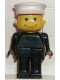 Minifig No: fab13c  Name: Basic Figure Human, Black Legs, White Hat