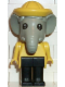Minifig No: fab5d  Name: Fabuland Figure Elephant 4 with Yellow Hat and Black Eyes