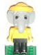 Minifig No: fab5i  Name: Fabuland Figure Elephant 4 with Yellow Hat and White Eyes